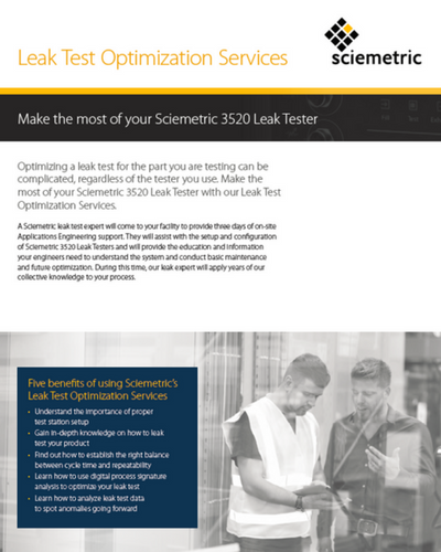 Leak Test Optimization Services Datasheet Cover
