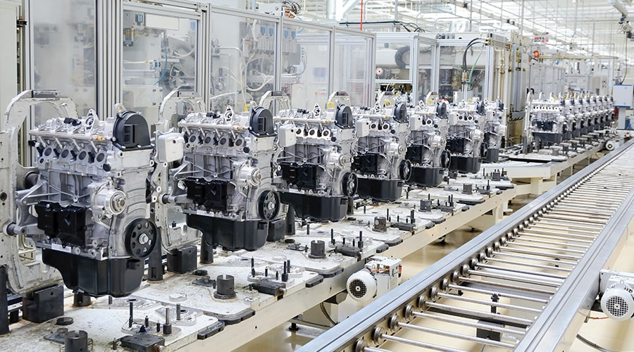 Production line for manufacturing of engines in a car factory