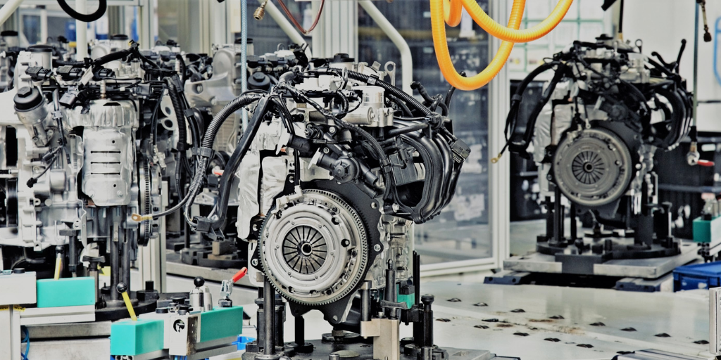 Engines on production line