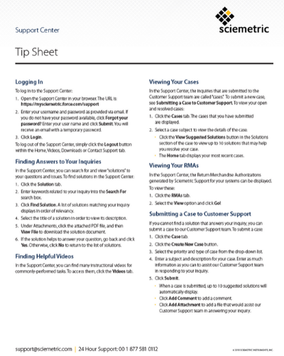 Support Center Tip Sheet cover