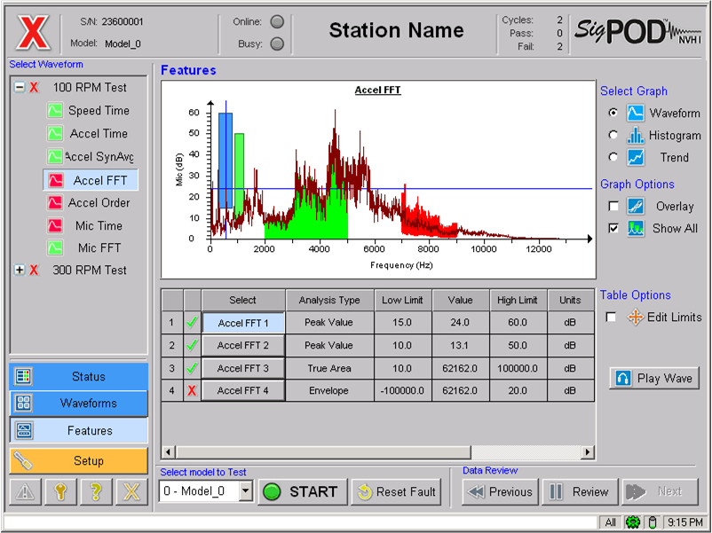 sigPOD NVH screen showing features